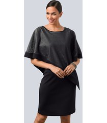 jurk alba moda zwart::zilverkleur