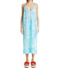 women's ganni organic cotton cover-up dress, size xx-small/x-small - blue