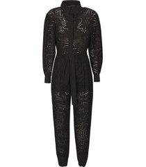 alberta ferretti tie-waist perforated jumpsuit