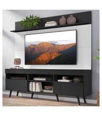 """rack com painel tv 65"""" madri multimóveis preto/branco com prateleira e pés retrô preto"""
