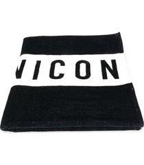 dsquared2 toalha de praia com estampa icon - preto