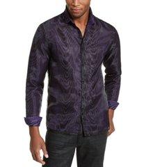 inc onyx men's sheer overlay tiger print shirt, created for macy's