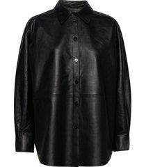 gina leather overhemd met lange mouwen zwart dagmar