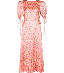 the vampire's wife honey trap floral-print silk dress - pink