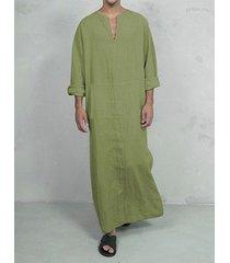 falda larga lisa con cuello en v de otoño informal para hombre