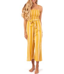 women's rip curl fiesta stripe crop jumpsuit, size large - yellow