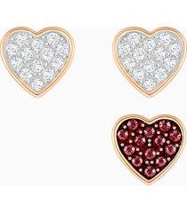 set orecchini a buco crystal wishes, multicolore, placcato oro rosa