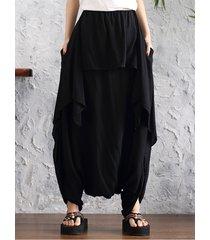 o-newe donna harem pantaloni sciolti a vita elastica con tasche con bordo irregolare