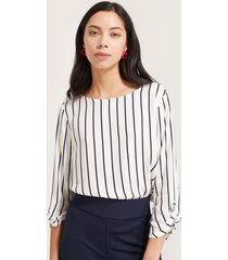 blusa manga 3/4 estampadaa rayas  con detalle  en puño-xxl