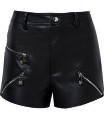 shorts john john rib detail couro fake preto feminino (preto, 50)