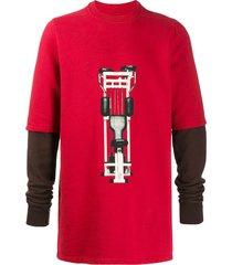 rick owens drkshdw longline printed sweatshirt - red