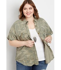maurices plus size womens camo short sleeve utility shirt green