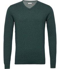basic v neck stickad tröja v-krage grön tom tailor