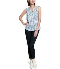 nydj pleated printed blouse