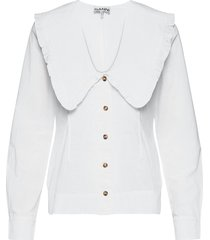 cotton poplin blouse lange mouwen wit ganni