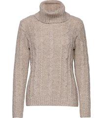 crellie knit pullover turtleneck polotröja grå cream