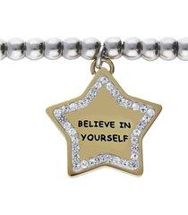 bracciale con pendente stella believe in yourself. in acciaio dorato e strass per donna