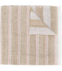 fabiana filippi metallic-striped large scarf - neutrals