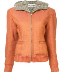 issey miyake pre-owned zipped hooded jacket - grey rust