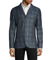 plaid linen-blend tailored jacket