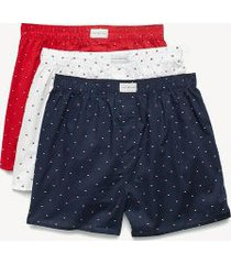tommy hilfiger men's classic woven boxer 3pk white/navy/red - l