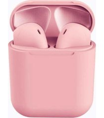 audifonos stereo bluetooth inalambricos recargables i12 rosa