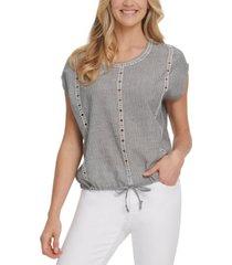dkny jeans cotton striped eyelet-trim drawstring-hem top