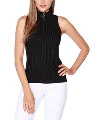belldini black label petite sleeveless mock-neck zip sweater