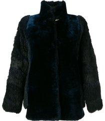a.n.g.e.l.o. vintage cult short fur coat - blue