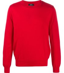 a.p.c. crew neck sweater - red