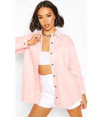 oversized acid-washed stug denim shirt, roze