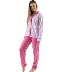 pijama 4 estaã§ãµes com botã£o amamentaã§ã£o manga longa feminino rosa - rosa - feminino - poliã©ster - dafiti