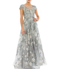 mac duggal floral embroidered & embellished a-line gown, size 12 in sea mist at nordstrom