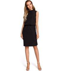 jurk moe m423 blousonjurk met split achter - zwart
