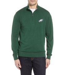 cutter & buck philadelphia eagles - lakemont regular fit quarter zip sweater, size xx-large in hunter green at nordstrom