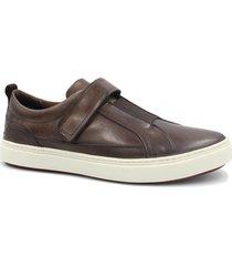 sapatênis zariff shoes em couro elastano marrom