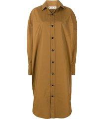 marni oversized midi shirt dress - brown