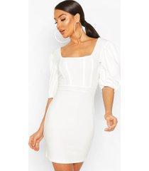 corset top detail dress, cream