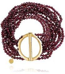 bracelete boho circulo oa com fios de granada