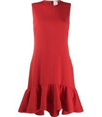 victoria victoria beckham dropped waist fluted hem dress - red