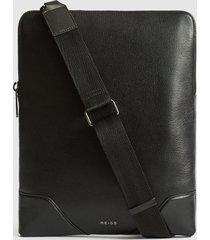 reiss elliott - leather laptop messenger bag in black, mens