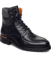 biacarney tweed boot snörade stövlar svart bianco
