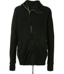 boris bidjan saberi cowl-neck zip-through hooded sweater - black