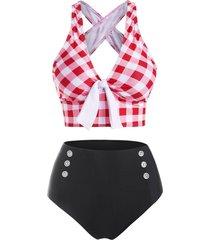 checkered crisscross tied mock button tankini swimwear