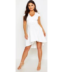 bardot plunge high low skater dress, ivory