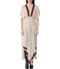 women's maje racheline print maxi dress, size 6 us - beige