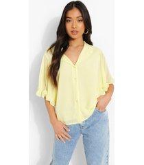 petite geweven blouse met ruches en engelenmouwen, yellow
