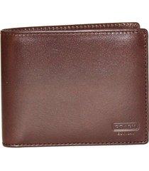 coach men's water buffalo leather double bilfold wallet fs4656 mahogany mah