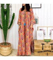 zanzea imprimir mujeres batwing manga larga floral camisa de vestir de verano de la playa del vestido del más midi -naranja
