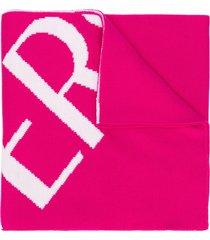 versace logo intarsia scarf - pink